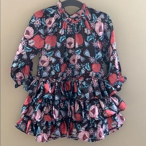 Velveteen clothing girls floral ruffle dress
